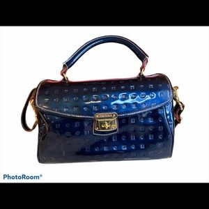 Arcadia Italian patent leather medium satchel blue